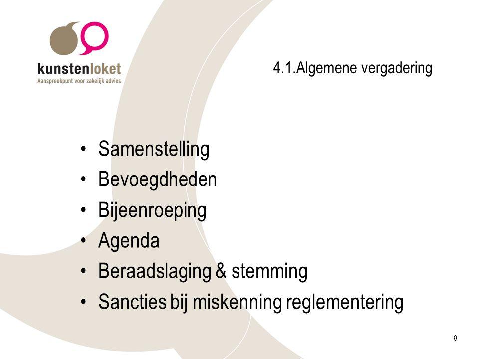 8 4.1.Algemene vergadering Samenstelling Bevoegdheden Bijeenroeping Agenda Beraadslaging & stemming Sancties bij miskenning reglementering