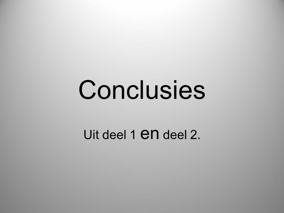 Conclusies Uit deel 1 en deel 2.