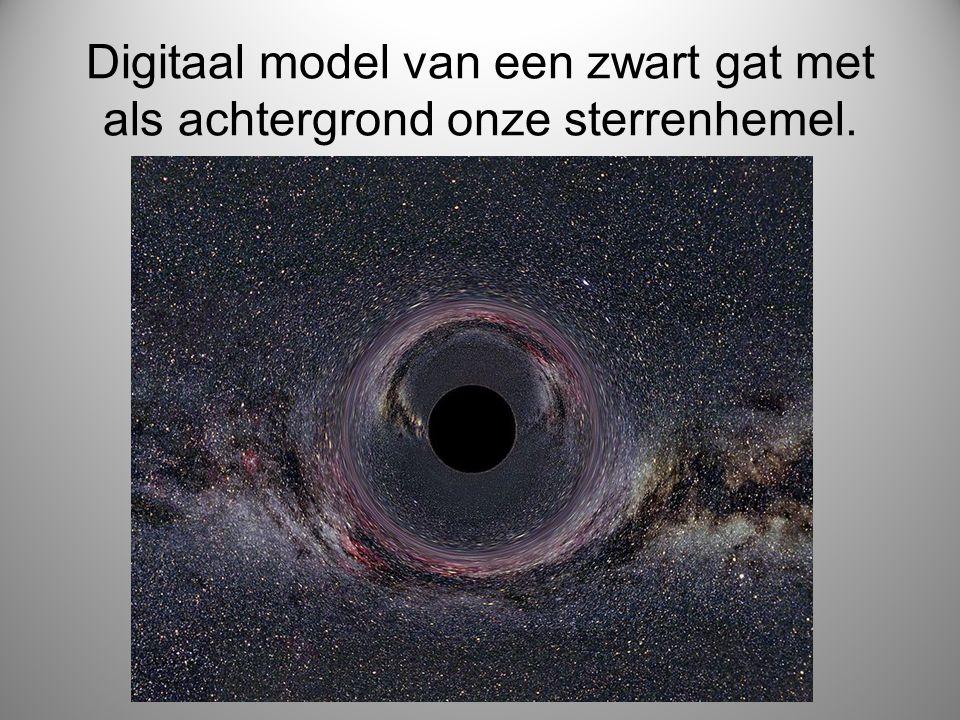 Digitaal model van een zwart gat met als achtergrond onze sterrenhemel.