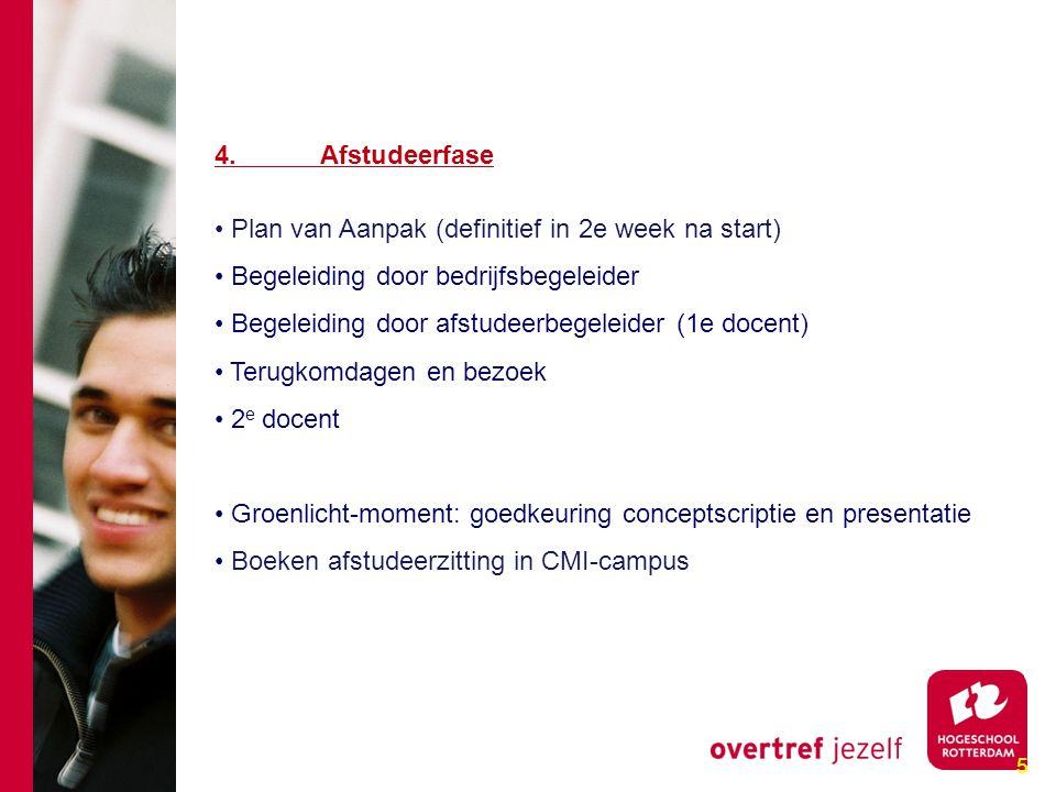 5 4. Afstudeerfase Plan van Aanpak (definitief in 2e week na start) Begeleiding door bedrijfsbegeleider Begeleiding door afstudeerbegeleider (1e docen