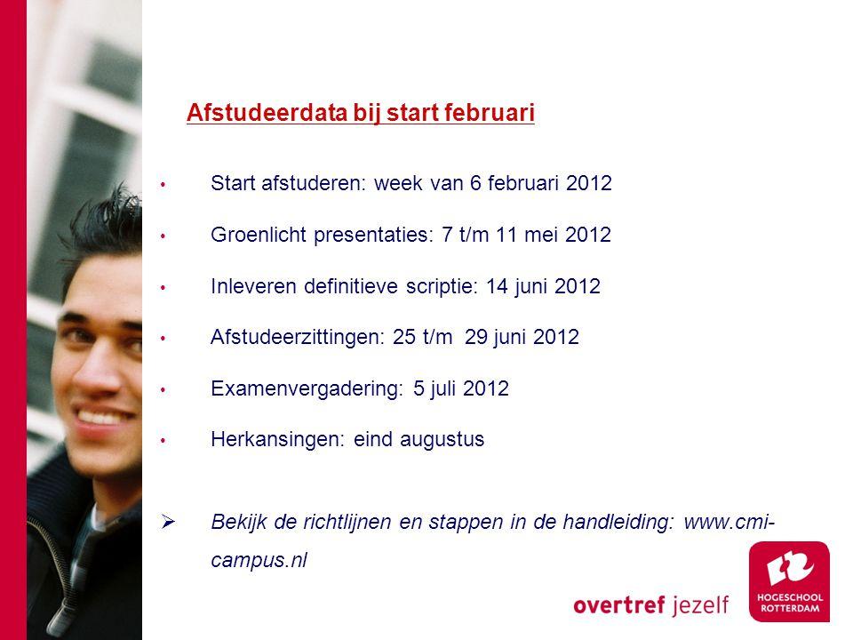 Afstudeerdata bij start februari Start afstuderen: week van 6 februari 2012 Groenlicht presentaties: 7 t/m 11 mei 2012 Inleveren definitieve scriptie: