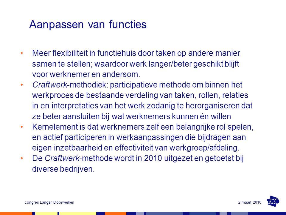 2 maart 2010congres Langer Doorwerken Aanpassen van functies Meer flexibiliteit in functiehuis door taken op andere manier samen te stellen; waardoor