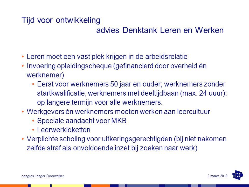 2 maart 2010congres Langer Doorwerken Tijd voor ontwikkeling advies Denktank Leren en Werken Leren moet een vast plek krijgen in de arbeidsrelatie Inv