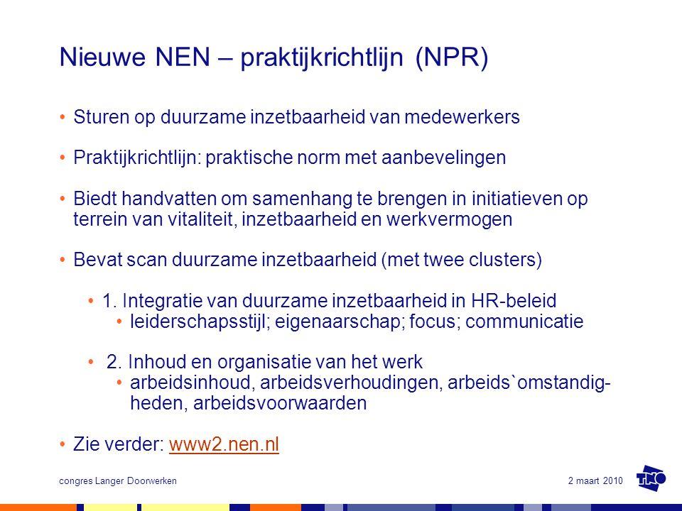 2 maart 2010congres Langer Doorwerken Nieuwe NEN – praktijkrichtlijn (NPR) Sturen op duurzame inzetbaarheid van medewerkers Praktijkrichtlijn: praktis
