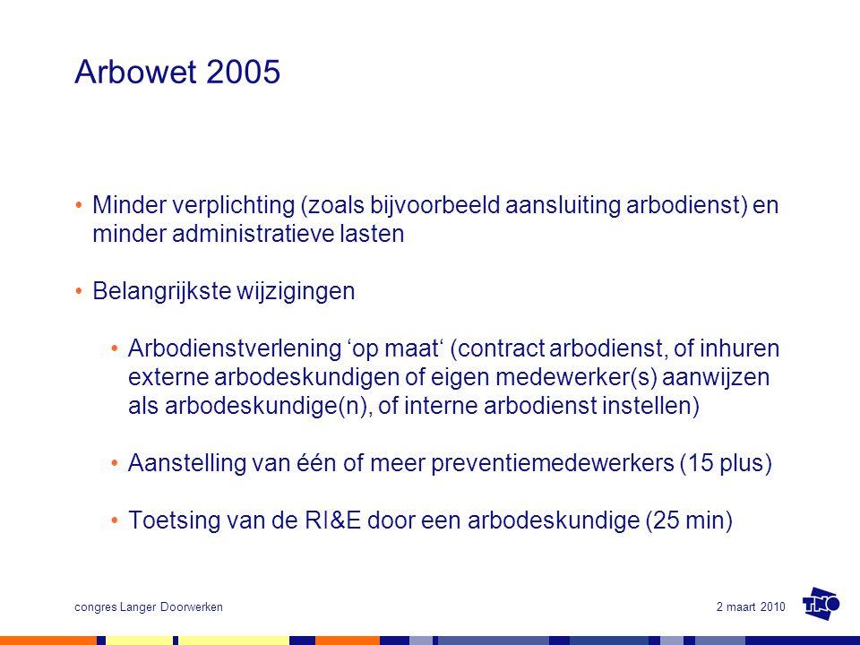 2 maart 2010congres Langer Doorwerken Arbowet 2005 Minder verplichting (zoals bijvoorbeeld aansluiting arbodienst) en minder administratieve lasten Be