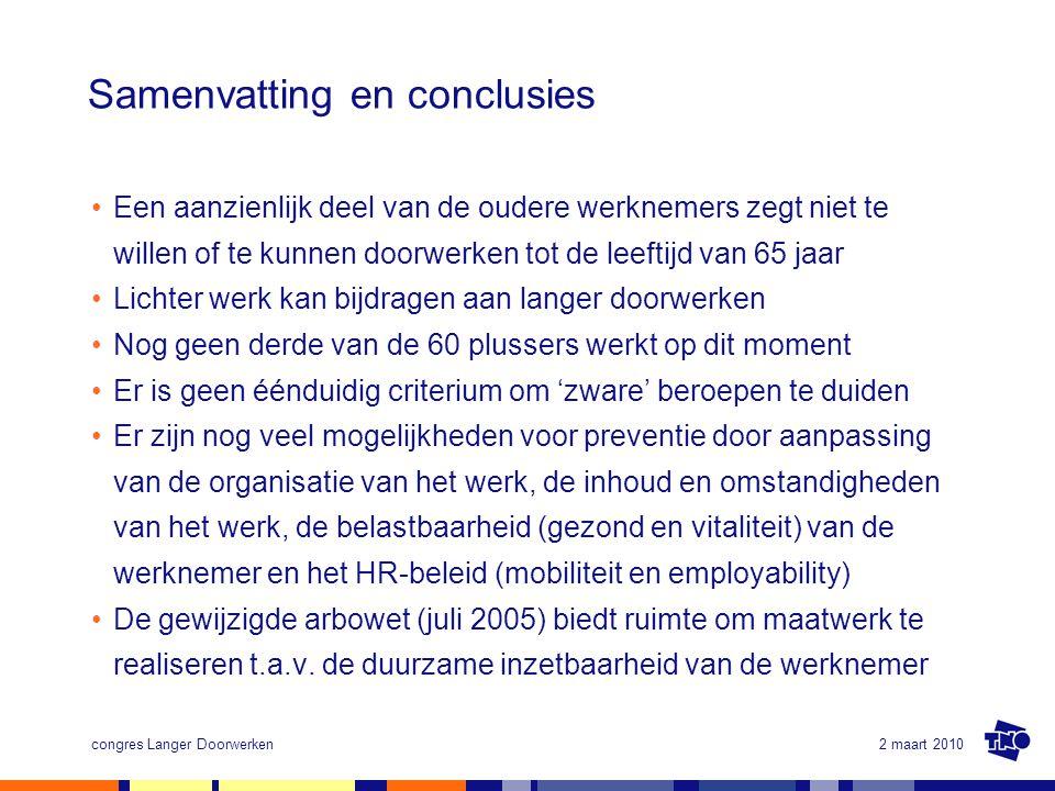 2 maart 2010congres Langer Doorwerken Samenvatting en conclusies Een aanzienlijk deel van de oudere werknemers zegt niet te willen of te kunnen doorwe