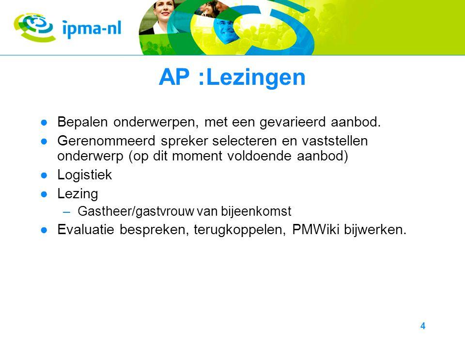 4 AP :Lezingen ●Bepalen onderwerpen, met een gevarieerd aanbod.
