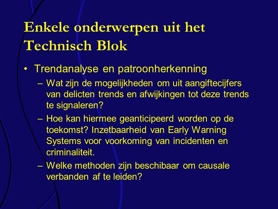 Enkele onderwerpen uit het Technisch Blok Trendanalyse en patroonherkenning –Wat zijn de mogelijkheden om uit aangiftecijfers van delicten trends en afwijkingen tot deze trends te signaleren.