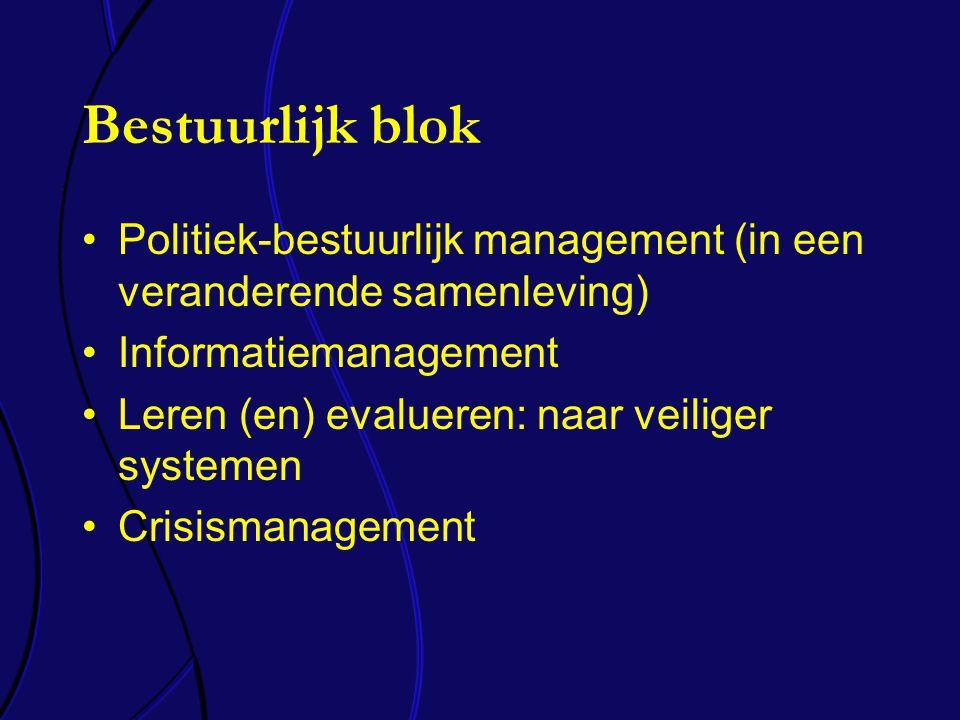 Bestuurlijk blok Politiek-bestuurlijk management (in een veranderende samenleving) Informatiemanagement Leren (en) evalueren: naar veiliger systemen Crisismanagement