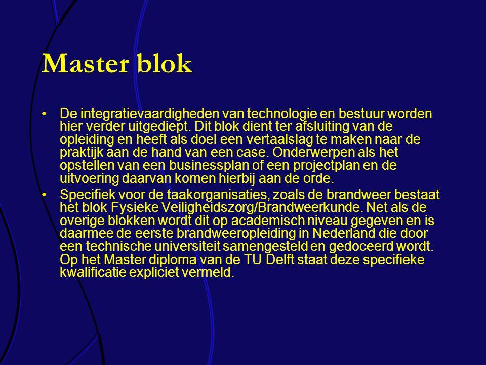 Master blok De integratievaardigheden van technologie en bestuur worden hier verder uitgediept.