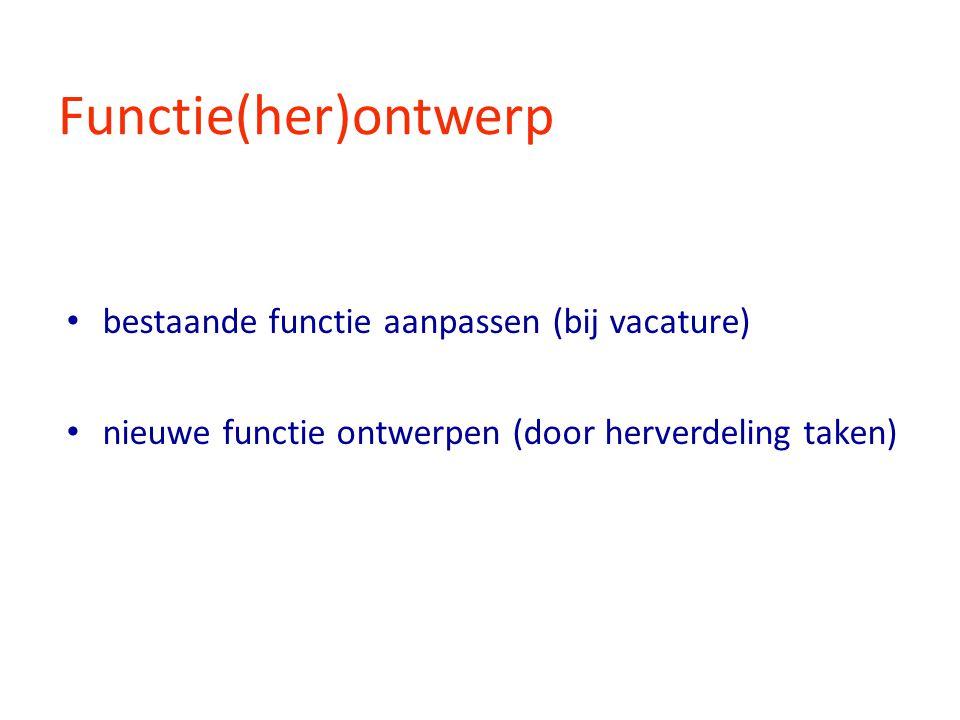Functie(her)ontwerp bestaande functie aanpassen (bij vacature) nieuwe functie ontwerpen (door herverdeling taken)