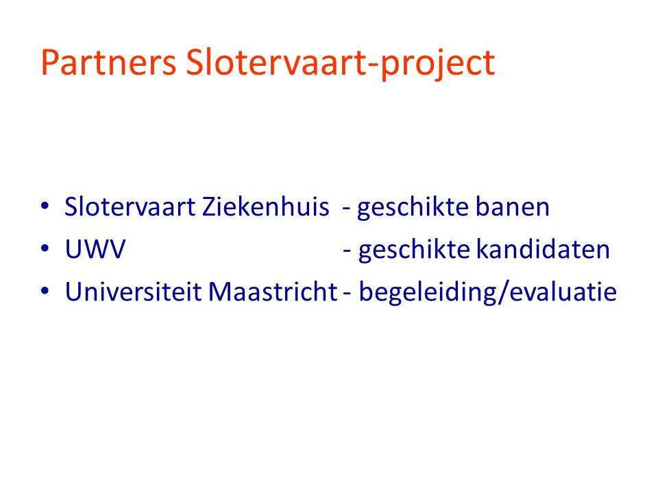 Doelstellingen praktijk-experiment Een duurzame passende baan voor 100 Wajongers in het Slotervaart ziekenhuis Praktijkproef met de UWV/UM methodiek Inclusief herontwerp werkprocessen (IHW)