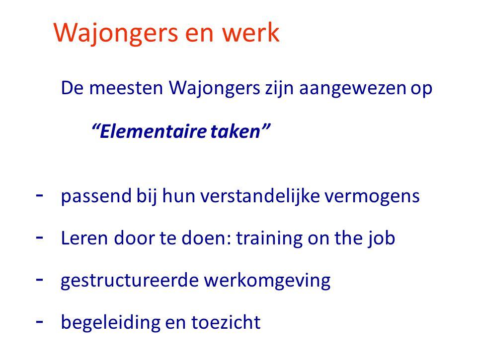 """Wajongers en werk De meesten Wajongers zijn aangewezen op """"Elementaire taken"""" - passend bij hun verstandelijke vermogens - Leren door te doen: trainin"""