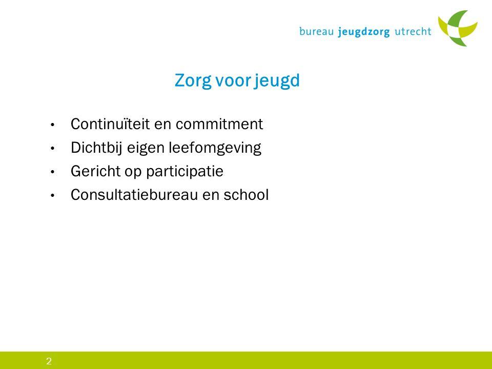 2 Zorg voor jeugd Continuïteit en commitment Dichtbij eigen leefomgeving Gericht op participatie Consultatiebureau en school