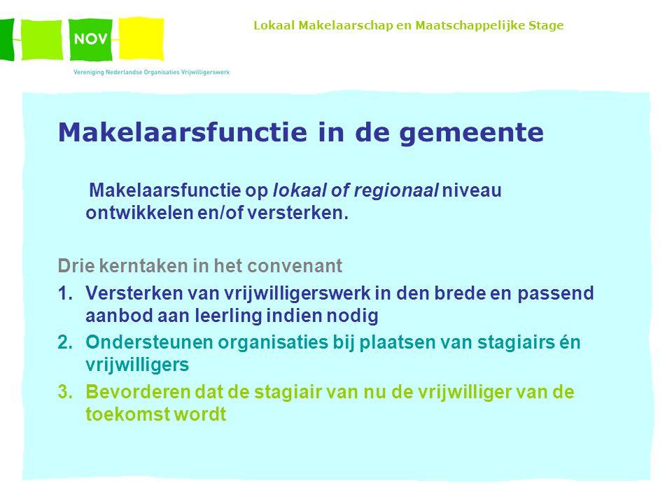 Lokaal Makelaarschap en Maatschappelijke Stage Makelaarsfunctie in de gemeente Makelaarsfunctie op lokaal of regionaal niveau ontwikkelen en/of versterken.