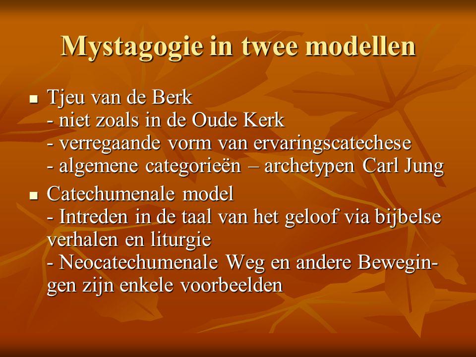 Mystagogie in twee modellen Tjeu van de Berk - niet zoals in de Oude Kerk - verregaande vorm van ervaringscatechese - algemene categorieën – archetypen Carl Jung Tjeu van de Berk - niet zoals in de Oude Kerk - verregaande vorm van ervaringscatechese - algemene categorieën – archetypen Carl Jung Catechumenale model - Intreden in de taal van het geloof via bijbelse verhalen en liturgie - Neocatechumenale Weg en andere Bewegin- gen zijn enkele voorbeelden Catechumenale model - Intreden in de taal van het geloof via bijbelse verhalen en liturgie - Neocatechumenale Weg en andere Bewegin- gen zijn enkele voorbeelden