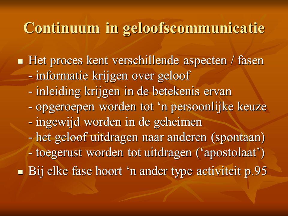 Continuum in geloofscommunicatie Het proces kent verschillende aspecten / fasen - informatie krijgen over geloof - inleiding krijgen in de betekenis e