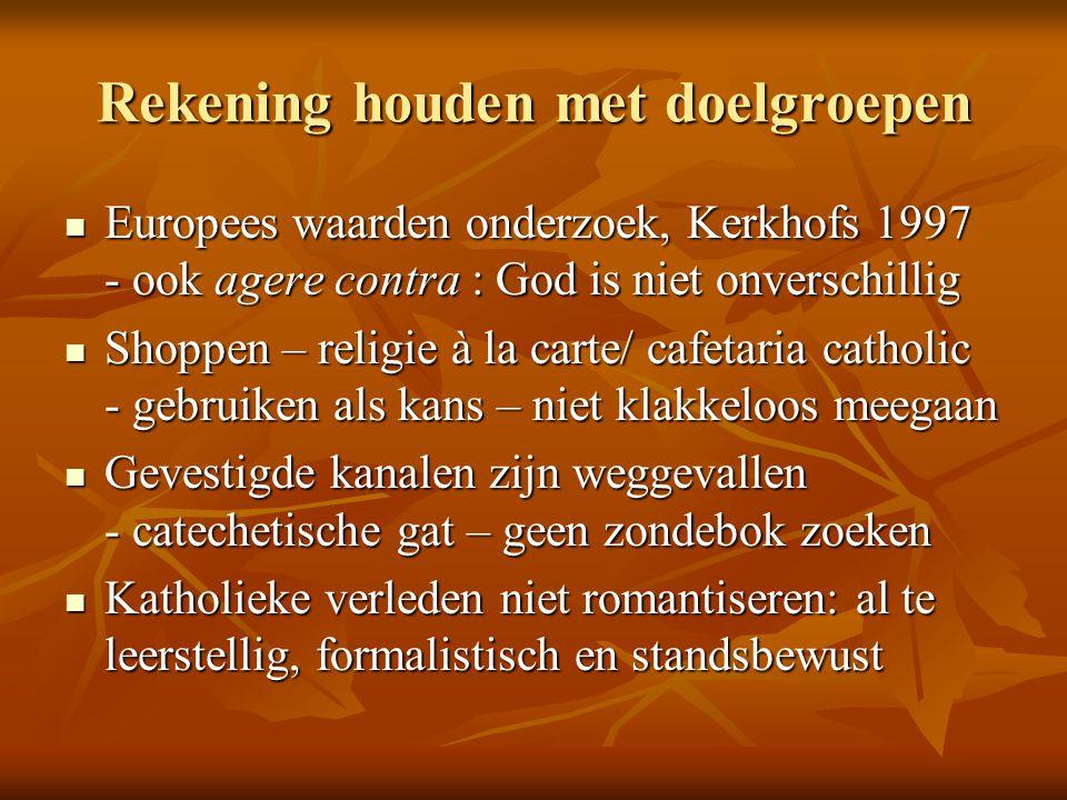 Rekening houden met doelgroepen Europees waarden onderzoek, Kerkhofs 1997 - ook agere contra : God is niet onverschillig Europees waarden onderzoek, K
