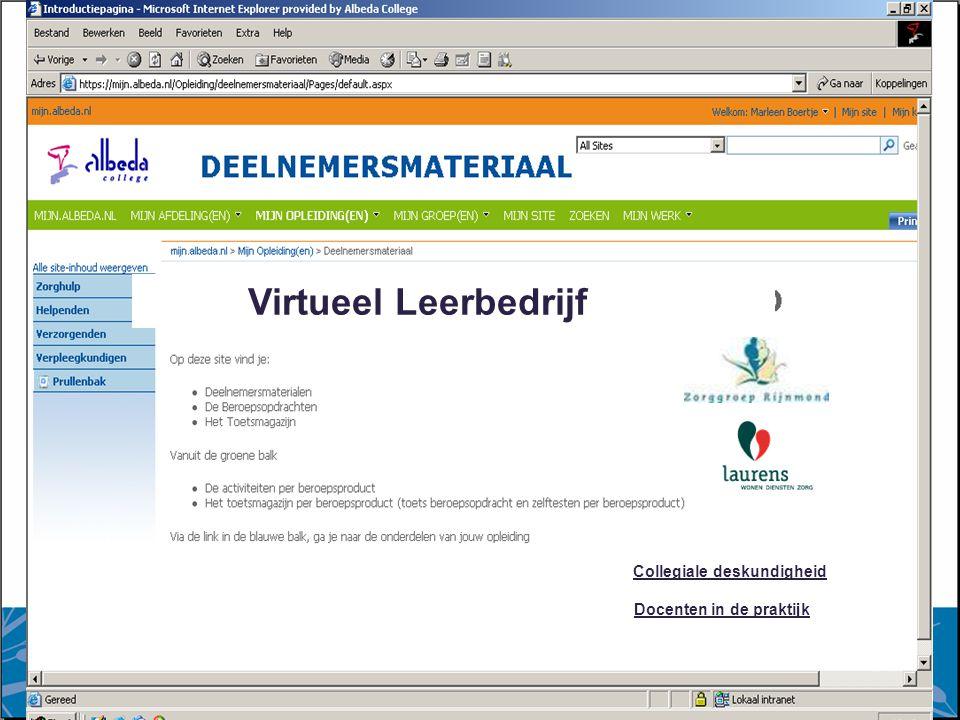 7 augustus 2014 Collegiale deskundigheid Docenten in de praktijk Virtueel Leerbedrijf