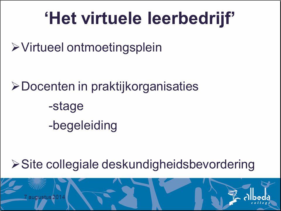 7 augustus 2014 'Het virtuele leerbedrijf'  Virtueel ontmoetingsplein  Docenten in praktijkorganisaties -stage -begeleiding  Site collegiale deskundigheidsbevordering