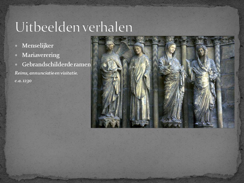 Menselijker Mariaverering Gebrandschilderde ramen Reims, annunciatie en visitatie. c.a. 1230