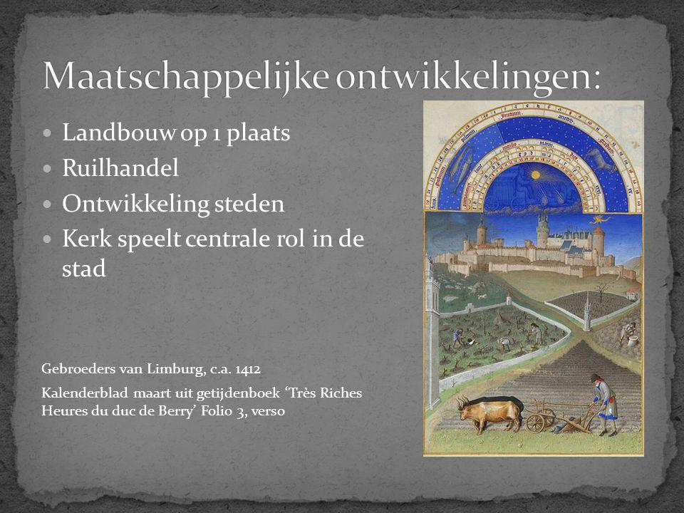Landbouw op 1 plaats Ruilhandel Ontwikkeling steden Kerk speelt centrale rol in de stad Gebroeders van Limburg, c.a. 1412 Kalenderblad maart uit getij
