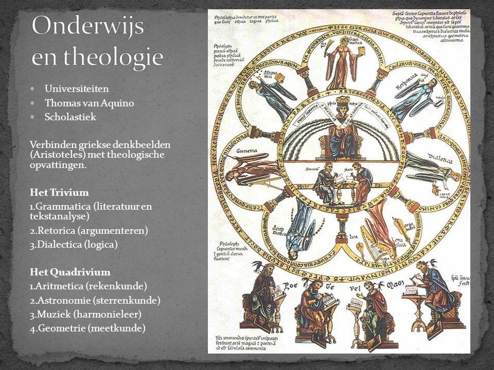 Universiteiten Thomas van Aquino Scholastiek Verbinden griekse denkbeelden (Aristoteles) met theologische opvattingen. Het Trivium 1.Grammatica (liter