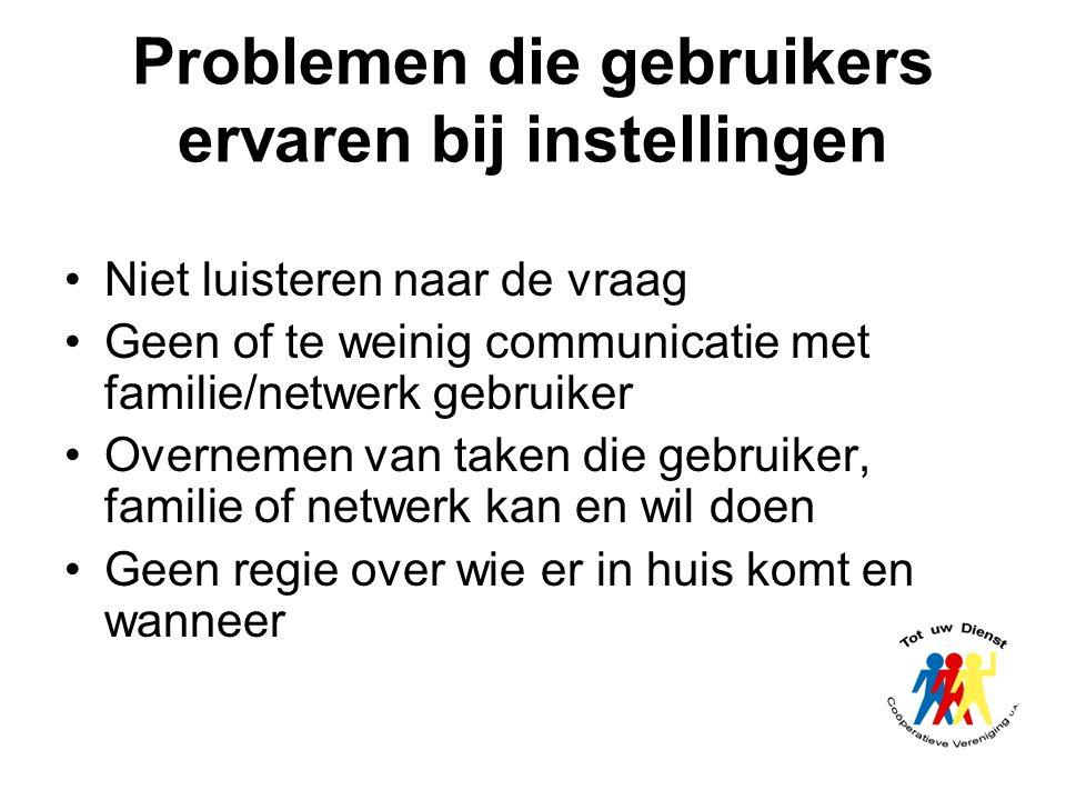 Niet luisteren naar de vraag Geen of te weinig communicatie met familie/netwerk gebruiker Overnemen van taken die gebruiker, familie of netwerk kan en