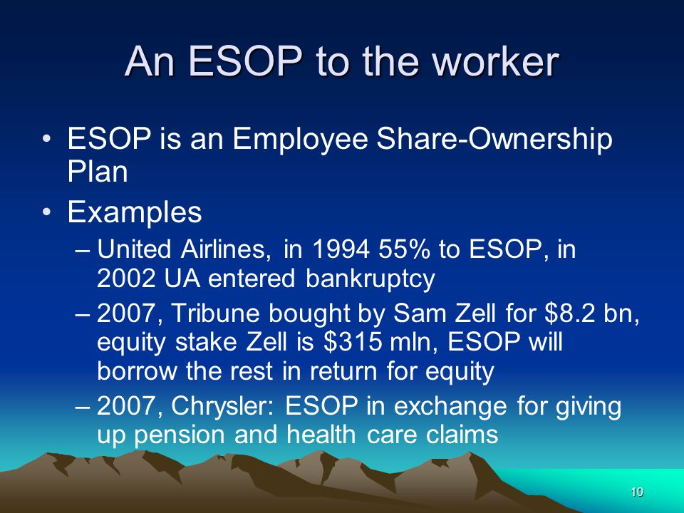 10 An ESOP to the worker ESOP is an Employee Share-Ownership Plan Examples –United Airlines, in 1994 55% to ESOP, in 2002 UA entered bankruptcy –2007, Tribune bought by Sam Zell for $8.2 bn, equity stake Zell is $315 mln, ESOP will borrow the rest in return for equity –2007, Chrysler: ESOP in exchange for giving up pension and health care claims