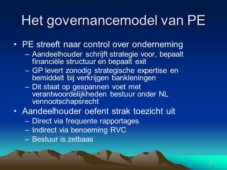 16 Het governancemodel van PE PE streeft naar control over onderneming –Aandeelhouder schrijft strategie voor, bepaalt financiële structuur en bepaalt exit –GP levert zonodig strategische expertise en bemiddelt bij verkrijgen bankleningen –Dit staat op gespannen voet met verantwoordelijkheden bestuur onder NL vennootschapsrecht Aandeelhouder oefent strak toezicht uit –Direct via frequente rapportages –Indirect via benoeming RVC –Bestuur is zetbaas