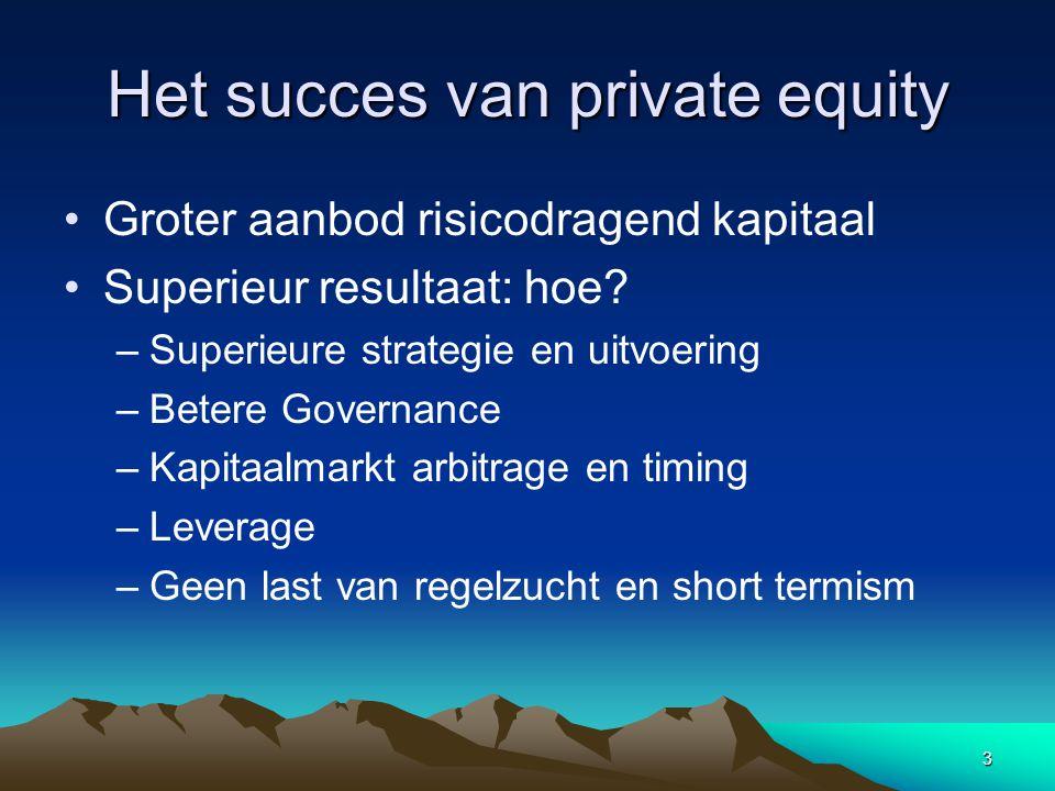3 Het succes van private equity Groter aanbod risicodragend kapitaal Superieur resultaat: hoe.
