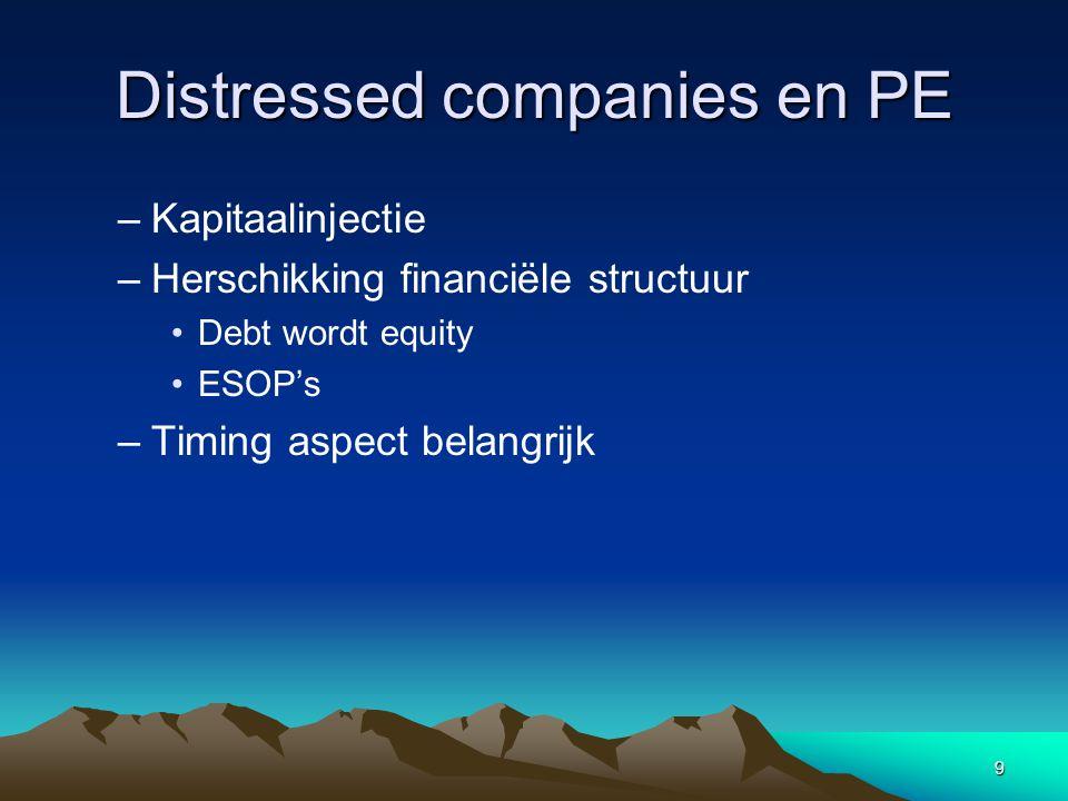 9 Distressed companies en PE –Kapitaalinjectie –Herschikking financiële structuur Debt wordt equity ESOP's –Timing aspect belangrijk