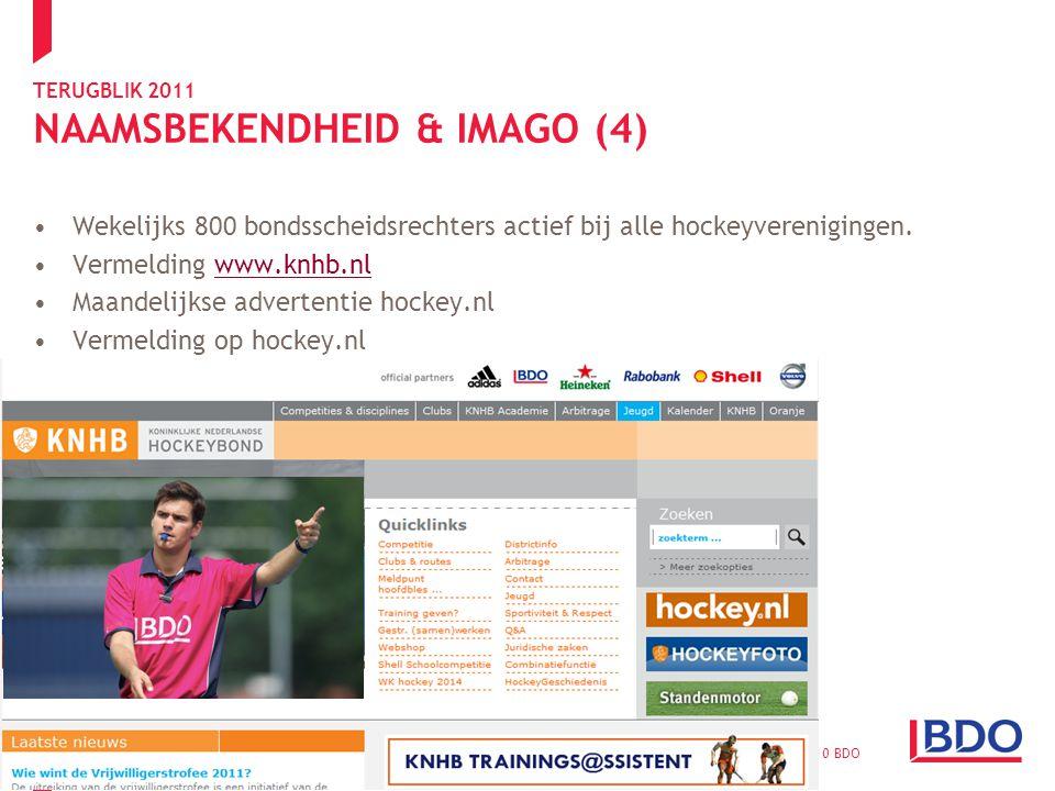TERUGBLIK 2011 NAAMSBEKENDHEID & IMAGO (4) Wekelijks 800 bondsscheidsrechters actief bij alle hockeyverenigingen.