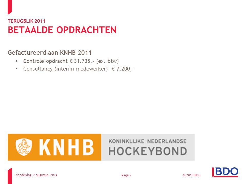 TERUGBLIK 2011 BETAALDE OPDRACHTEN Gefactureerd aan KNHB 2011 Controle opdracht € 31.735,- (ex.