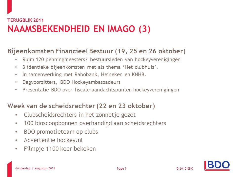 TERUGBLIK 2011 NAAMSBEKENDHEID EN IMAGO (3) Bijeenkomsten Financieel Bestuur (19, 25 en 26 oktober) Ruim 120 penningmeesters/ bestuursleden van hockeyverenigingen 3 identieke bijeenkomsten met als thema 'Het clubhuis'.