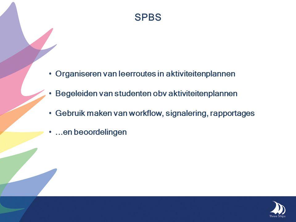 Organiseren van leerroutes in aktiviteitenplannen Begeleiden van studenten obv aktiviteitenplannen Gebruik maken van workflow, signalering, rapportages...en beoordelingen SPBS