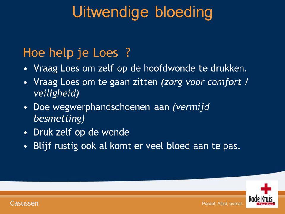 Uitwendige bloeding Hoe help je Loes ? Vraag Loes om zelf op de hoofdwonde te drukken. Vraag Loes om te gaan zitten (zorg voor comfort / veiligheid) D