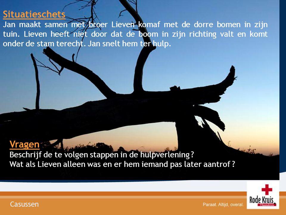 Casussen Situatieschets Jan maakt samen met broer Lieven komaf met de dorre bomen in zijn tuin. Lieven heeft niet door dat de boom in zijn richting va