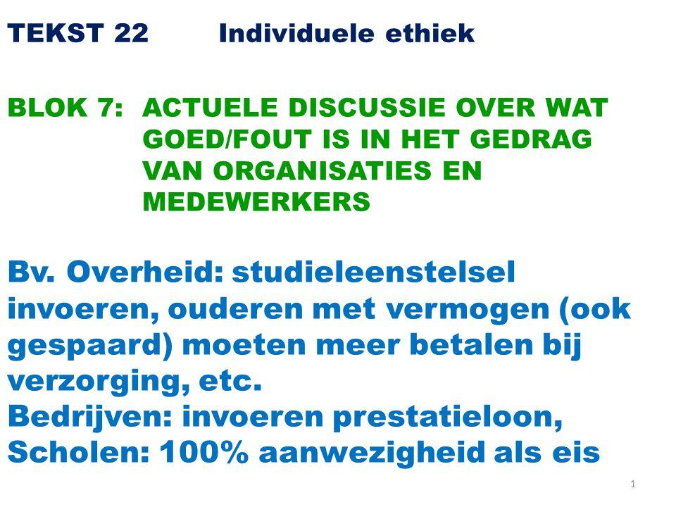 1 TEKST 22 Individuele ethiek BLOK 7: ACTUELE DISCUSSIE OVER WAT GOED/FOUT IS IN HET GEDRAG VAN ORGANISATIES EN MEDEWERKERS Bv.