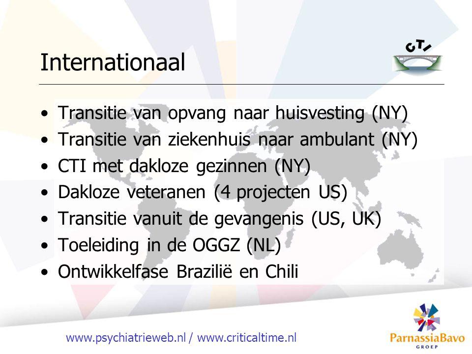 www.psychiatrieweb.nl / www.criticaltime.nl Internationaal Transitie van opvang naar huisvesting (NY) Transitie van ziekenhuis naar ambulant (NY) CTI met dakloze gezinnen (NY) Dakloze veteranen (4 projecten US) Transitie vanuit de gevangenis (US, UK) Toeleiding in de OGGZ (NL) Ontwikkelfase Brazilië en Chili