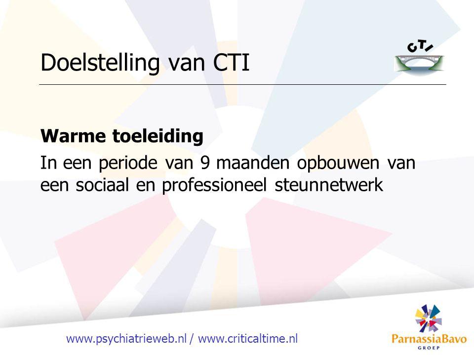 www.psychiatrieweb.nl / www.criticaltime.nl Doelstelling van CTI Warme toeleiding In een periode van 9 maanden opbouwen van een sociaal en professioneel steunnetwerk