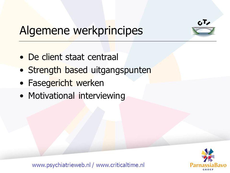 www.psychiatrieweb.nl / www.criticaltime.nl Algemene werkprincipes De client staat centraal Strength based uitgangspunten Fasegericht werken Motivational interviewing