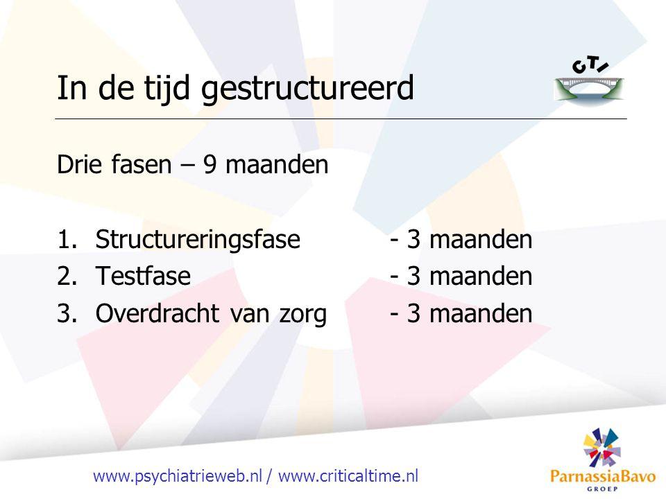 www.psychiatrieweb.nl / www.criticaltime.nl In de tijd gestructureerd Drie fasen – 9 maanden 1.Structureringsfase- 3 maanden 2.Testfase- 3 maanden 3.Overdracht van zorg- 3 maanden