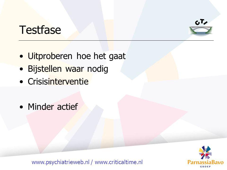 www.psychiatrieweb.nl / www.criticaltime.nl Testfase Uitproberen hoe het gaat Bijstellen waar nodig Crisisinterventie Minder actief