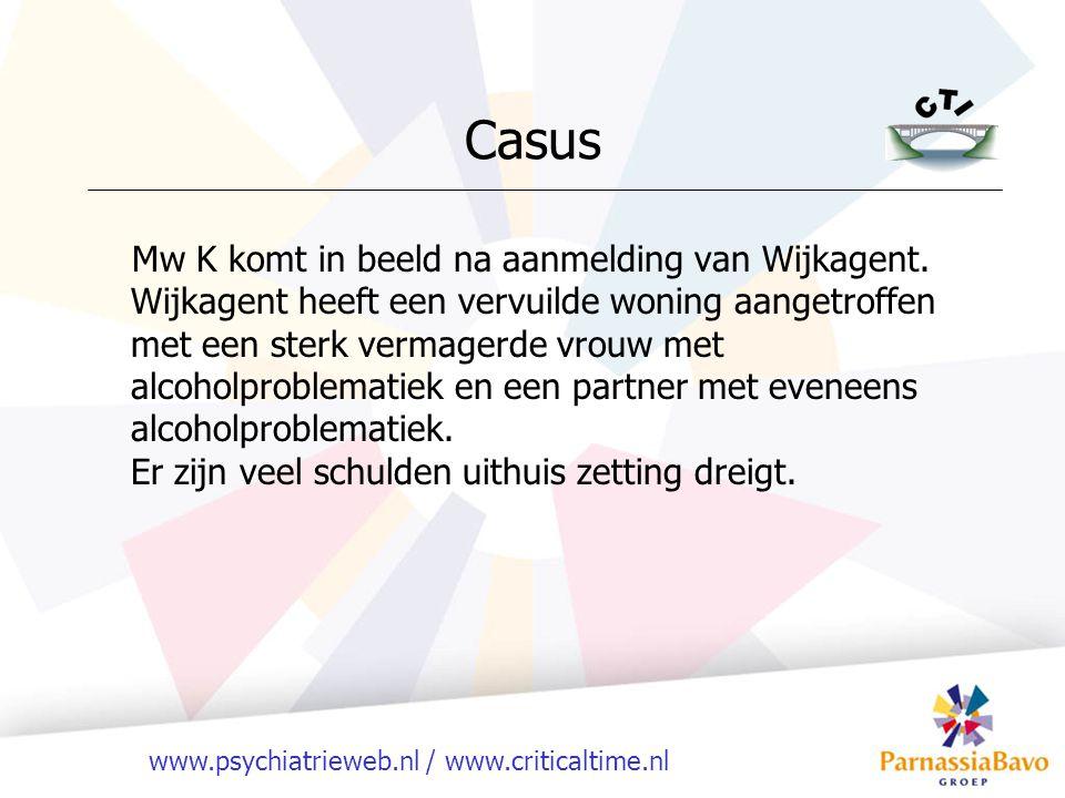 www.psychiatrieweb.nl / www.criticaltime.nl Casus Mw K komt in beeld na aanmelding van Wijkagent.
