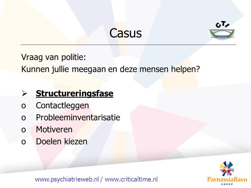 www.psychiatrieweb.nl / www.criticaltime.nl Vraag van politie: Kunnen jullie meegaan en deze mensen helpen?  Structureringsfase oContactleggen oProbl