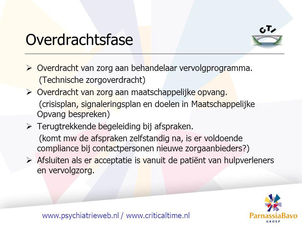 www.psychiatrieweb.nl / www.criticaltime.nl  Overdracht van zorg aan behandelaar vervolgprogramma. (Technische zorgoverdracht)  Overdracht van zorg