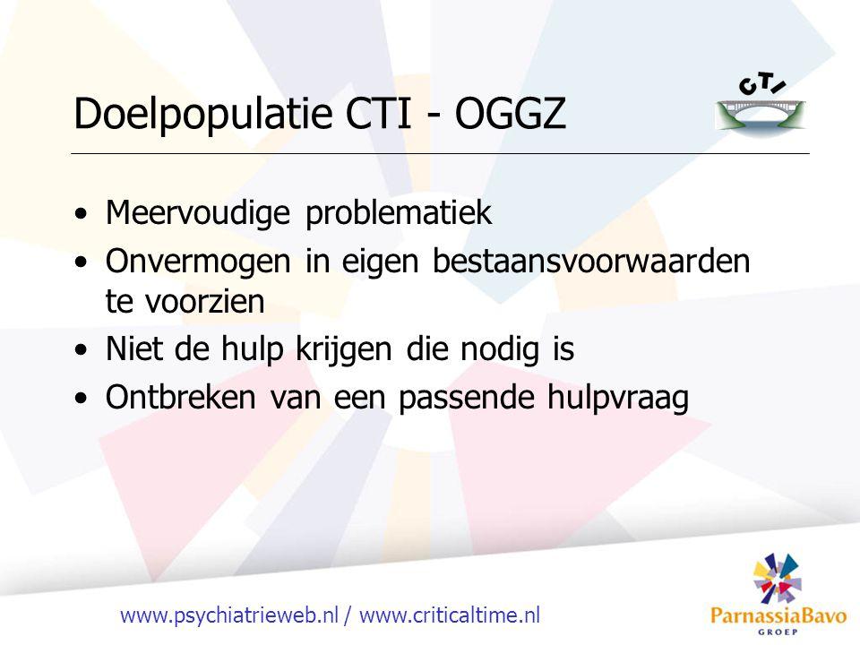 www.psychiatrieweb.nl / www.criticaltime.nl Doelpopulatie CTI - OGGZ Meervoudige problematiek Onvermogen in eigen bestaansvoorwaarden te voorzien Niet de hulp krijgen die nodig is Ontbreken van een passende hulpvraag