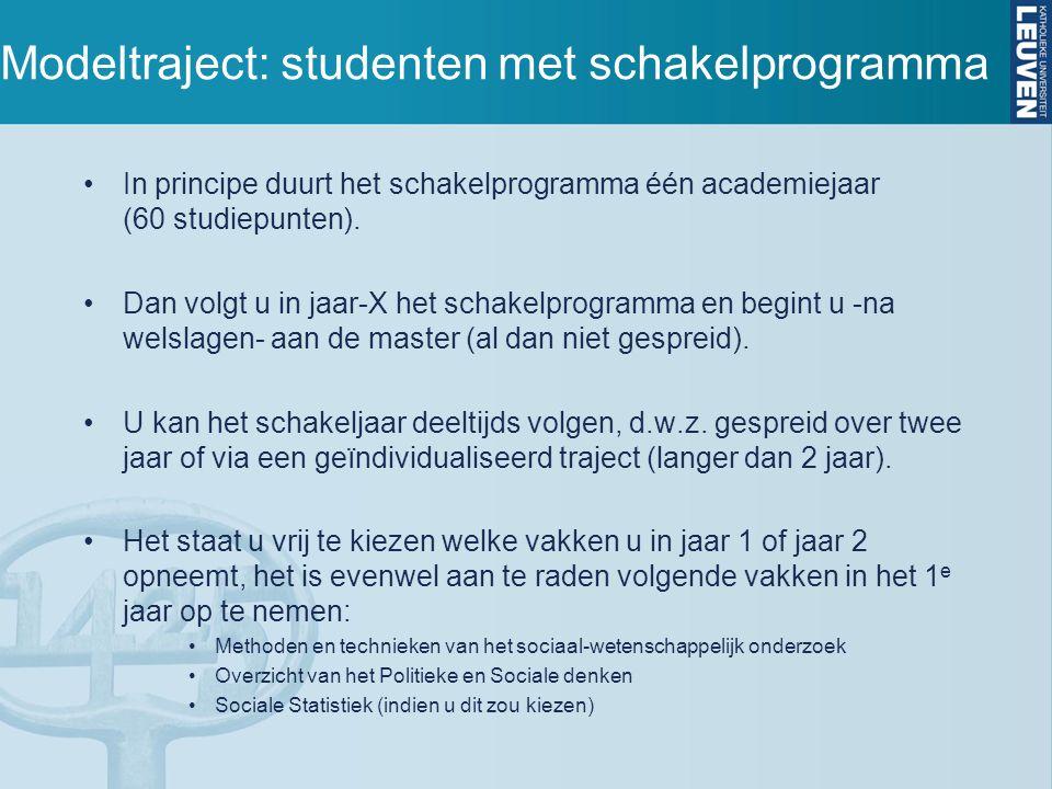 Modeltraject: studenten met schakelprogramma In principe duurt het schakelprogramma één academiejaar (60 studiepunten). Dan volgt u in jaar-X het scha