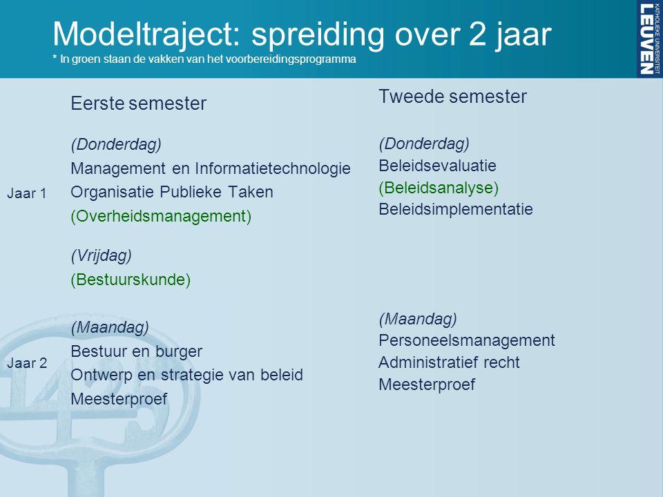 Modeltraject: spreiding over 2 jaar * In groen staan de vakken van het voorbereidingsprogramma Eerste semester (Donderdag) Management en Informatietec